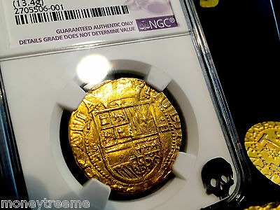 Spain 1556-1598 4 Escudos King Philip Ii Ngc Vf Details Gold Cob Doubloon Coin