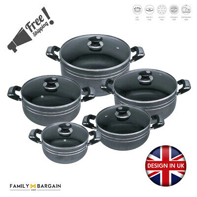 Black 5Pc Non Stick Ceramic Coated Die-Cast Casserole Set Induction Cookware