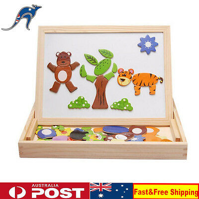 Kids Educational Learning Wooden Magnetic Drawing Board Jigsaw Puzzle Toys Gift