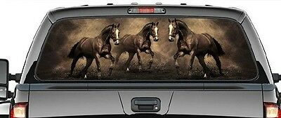 Western Horse - Graphic Decal/rear Ute/canopy Window -  3 Horses Brown