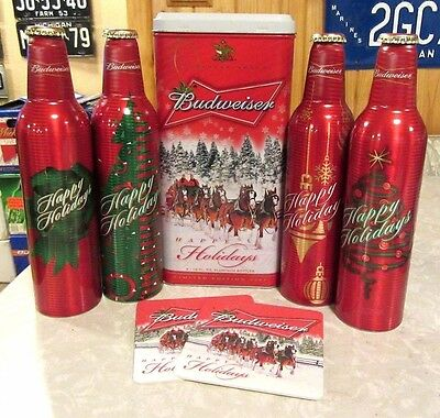 2007 Christmas Happy Holiday Budweiser Tin box with 4 Aluminum Bottle Beer Cans