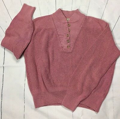 L.L. Bean Vintage Sweater Small Knit Pull over Large dusty muave pink LL Bean