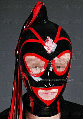 Latex/Rubber 0.8mm Mask Hood catsuit costume pony tail