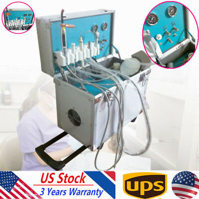 Portable Dental Delivery Unit Rolling Case+ultrasonic scaler+slow Suction 4 HOLE