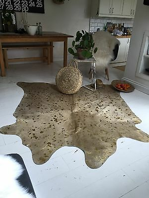 Brazilian Metallic Cowhide Rug Gold Interior Decor 1.8m x 2.0m