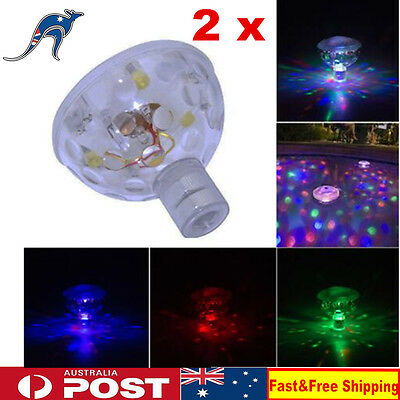 2 x Underwater Disco Pool Light Show LED Waterproof Floating Party Spa Tub Pond