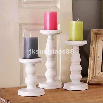 Metal Carved Church Pillar Candle Holder Candlestick Wedding Home Decor White