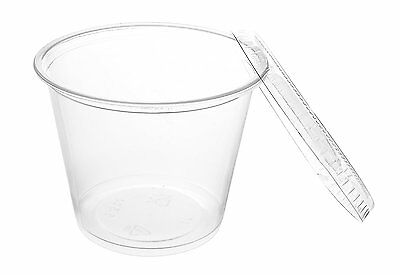 Crystalware, Disposable 5oz. Plastic Portion Cups with Lids, Condiment Cup, Cup,