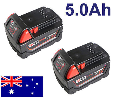 2x Replace Milwaukee M18 48-11-1840 48-11-1828 XC RED LITHIUM 18V 5.0Ah Battery