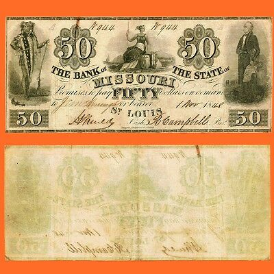 1848 Bank of the State of Missouri $50 fifty dollars / RARE plate note. Nice!