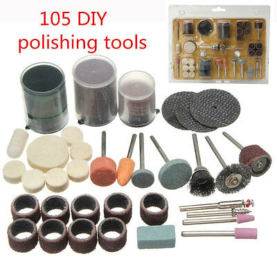 105 x Rotary Polishing Tools Accessories Kit for Crafting and Hobby For Dremel