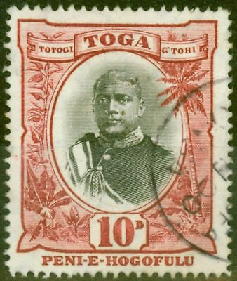 Tonga 1897 10d Black & Lake SG49a Wmk Sideways Fine Used Un-Priced by Gibbons