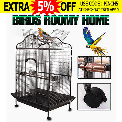 Bird Cage Parrot Aviary Pet Stand-alone Budgie Perch Castor Carrier Large183cm
