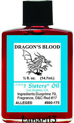 Dragons Blood Oil, 7 Sisters, 1/2oz, Lunari13, Wicca, Santeria, Brujeria