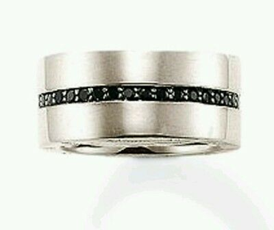 5fb4d3bb0ad3 TR1712 NEW Genuine Thomas Sabo Rebel at Heart Black CZ Ring Size 64 £159