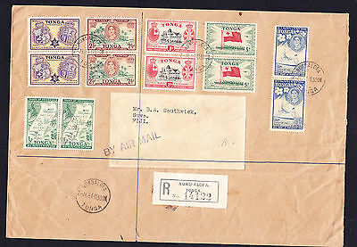TONGA 1951 SG95/100 set 6 on cover in pairs fine used -stamps cat £36 as singles
