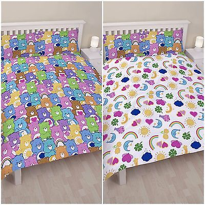 100% Official Care Bears 'Hugs' Duvet Quilt Cover Bed Sets - Reversible Design