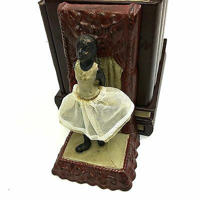Set of 2 Ballerina Girl Bookends Painted Cast Iron with Cloth