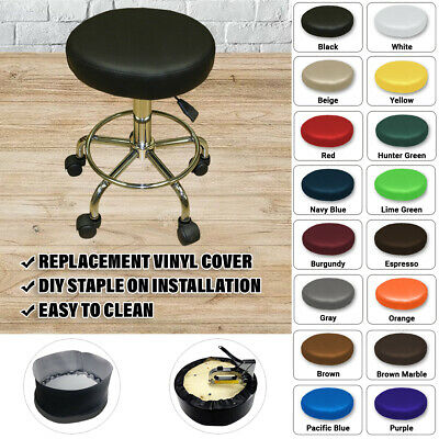 New Round Bar Stool Cover Staple On Black Premium Vinyl Seat Replacement - B