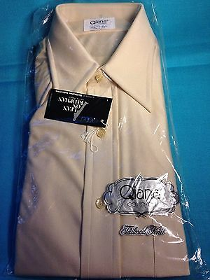 vintage deadstock nos Quiana tailored knit L 16 long sleeve shirt 1970s-1980s NR