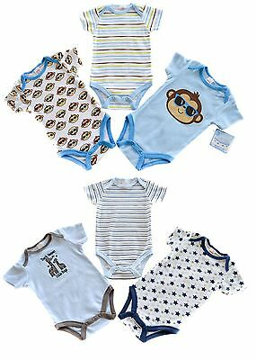 Baby Boys 3 Pack Bodysuits 2 Assorted Sets 100% Cotton **NEW**