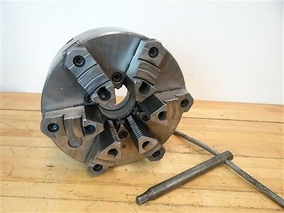 """Nice! Bison 12"""" 6 Jaw Scrolling Chuck Flat Back W/ D1-8 Backing Plate + Key"""