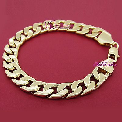 Mens Women Real Solid 18k Yellow Gold GF Curb Bracelet Bangle Chunky Rings Chain