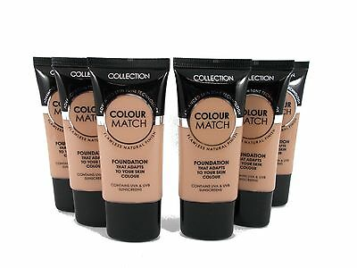 6 x COLLECTION 2000 colour match foundation 30ml job lots (3x honey, 3x golden)