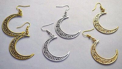* UK * A Pair Large Women's FILIGREE CRESCENT MOON SP Drop Earrings Pagan Wicca