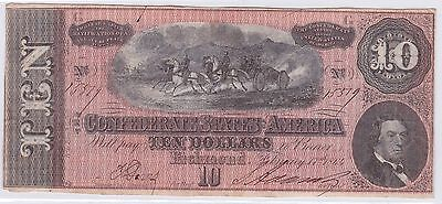 Ten Dollars Confederate States Of America 17 Fevrier 1864 (2)