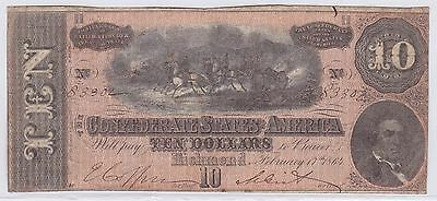 Ten Dollars Confederate States Of America 17 Fevrier 1864 (5)