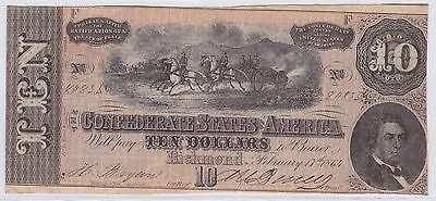 Ten Dollars Confederate States Of America 17 Fevrier 1864 (6)