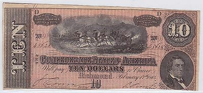 Ten Dollars Confederate States Of America 17 Fevrier 1864 (7)