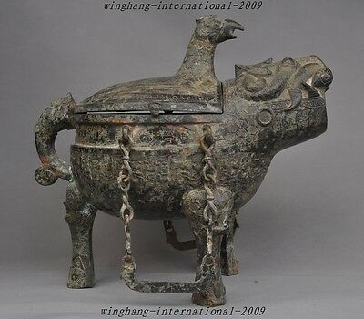 "16"" Collect Collect old chinese bronze beast head pattern statue Wine vessel"