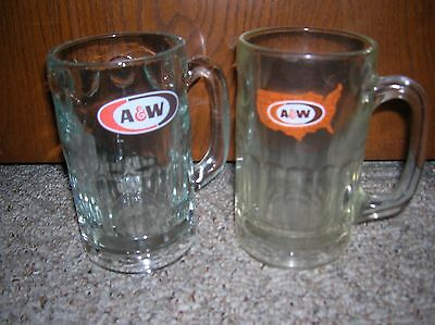 2 Vintage A&W Root Beer Mugs Glass 5 1/2 inches tall 2 different Styles EUC SEE