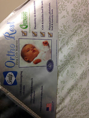 Sealy Ortho Rest Crib Mattress Toddler Bed 150 Coil Spring Baby White Firm