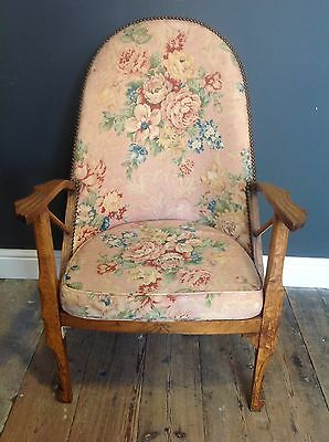 Arts And Crafts Vintage Oak Nursing Upholstered Armchair Bedroom