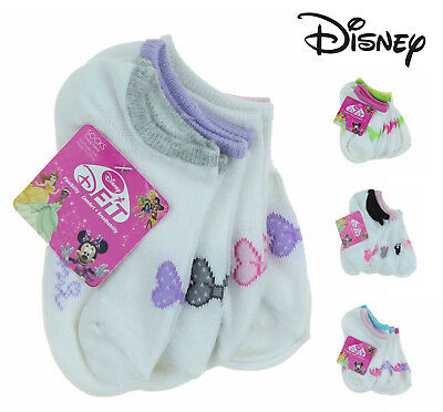 Disney Girls D-Fit Breathable No Show 4 Pack Socks-Minnie, Fairies, Princesses