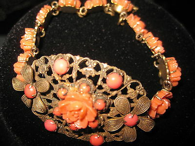 ANTIQUE CHINESE CARVED  CORAL ORCHID gold  FILIGREE BRACELET  safety chain