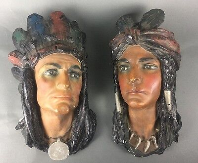 Large Vintage Pair of Chalkware Indian Native American Bust Head Wall Plaques