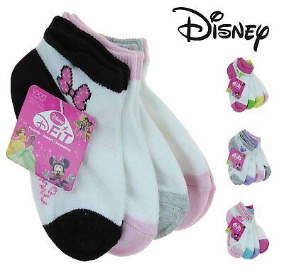 Disney Girls D-Fit Breathable Ankle Socks 4 Pack -Minnie, Fairies, Princesses