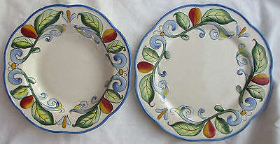 Fitz And Floyd 'ricamo' Motif Pasta Bowl & Dinner Plate - As Is