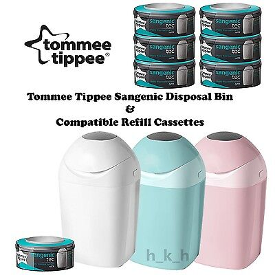 Tommee Tippee Sangenic Tec Baby Nappy Diaper Disposal Bin & Refill Cassettes