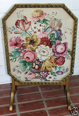 Antique Fireplace Screen Tilt Covert to Table Summer Gold Ornate Flowers Glass