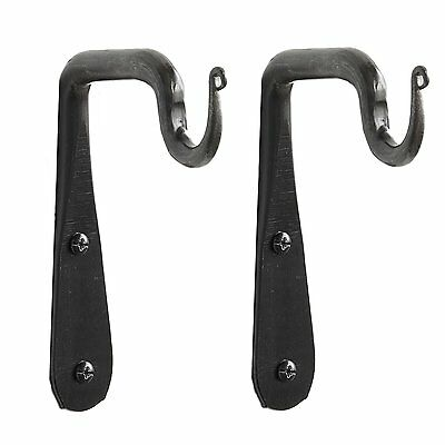 Set of 2 Wall Mounted Hand Forged Straight Wrought Iron Hanging Coat Hook Hanger