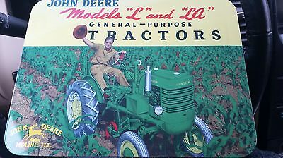 John Deere Models L &LA Tractor Tin Sign