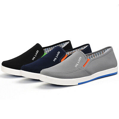 US Men Canvas Slip On Breathable Casual Sport Sneakers Running Flat Shoes Summer
