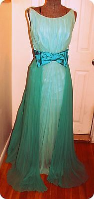 Vintage 2 tone Teal Green Chiffon Gown  Flowing Cocktail Evening Party @ 1960
