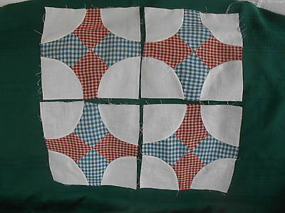 4 Vintage Quilt Blocks In Red And Blue Gingham, Early 20Th. Century