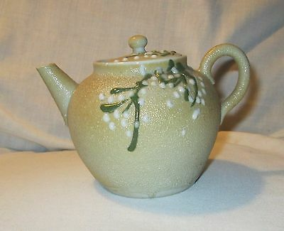 """Teapot Oriental Orange Peel and Moriage Small 4"""" tall vintage with lid"""